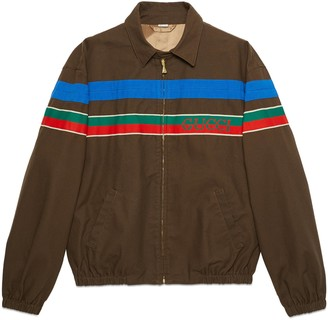 Gucci Cotton zip-up jacket with stripe
