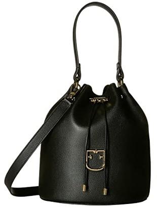 Furla Corona Small Drawstring Bucket Bag (Onyx) Handbags