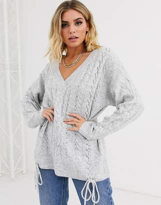 Asos Design DESIGN v neck cable jumper with tie detail in recycled blend-Grey