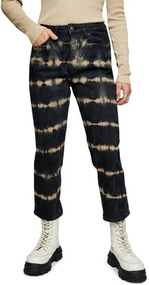 Topshop Tie Dye Crop Straight Leg Jeans