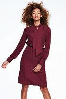 Lands' End Women's Long Sleeve Bow Shirt Dress-Burgundy Dots