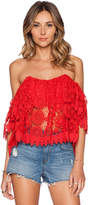 Tularosa Amelia Crop Top in Red. - size L (also in )