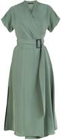Flow Kimono Wrap Dress In Green