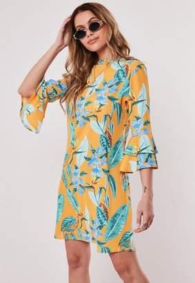 Missguided Orange Floral Print Frill Sleeve Shift Dress