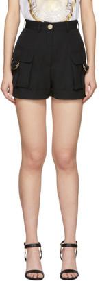 Balmain Black Grain De Poudre Cargo Shorts