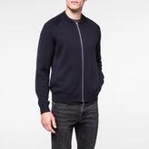 Paul Smith Men's Navy Merino Wool Zip-Front Cardigan