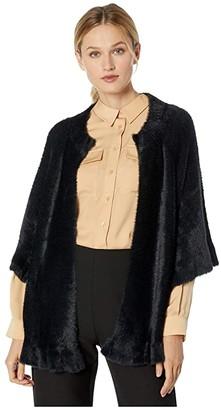 Tribal 3/4 Sleeve Sweater Cardigan w/ Frill (Black) Women's Clothing