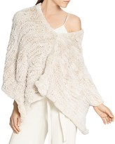 Halston Rabbit Fur Convertible Poncho
