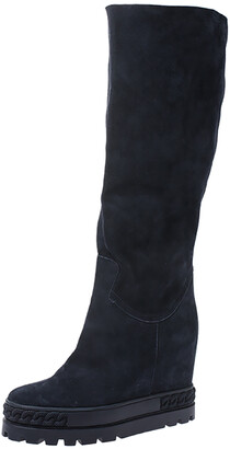 Casadei Navy Blue Suede Concealed Wedge Knee Length Boots Size 39