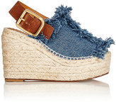 Chloé Women's Frayed-Denim Wedge Espadrille Sandals-NAVY