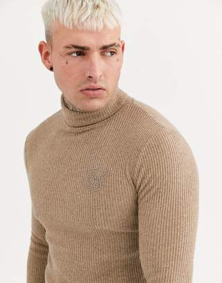 SikSilk muscle fit knitted roll neck sweater in camel-Stone