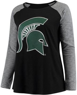 Unbranded Women's Black/Charcoal Michigan State Spartans Plus Size Preppy Elbow Patch Slub Long Sleeve T-Shirt