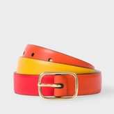Paul Smith Men's Burnt Orange, Red And Yellow Colour Block Leather Belt