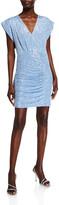 Jay Godfrey Evie Crystal Mesh Sequin Cap-Sleeve Gathered-Hem Mini Dress