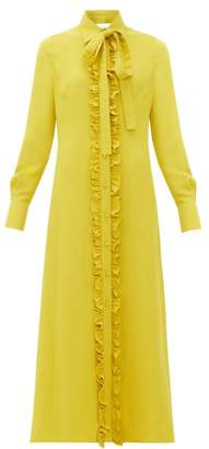 Valentino Ruffle-trimmed Midi Shirtdress - Womens - Yellow
