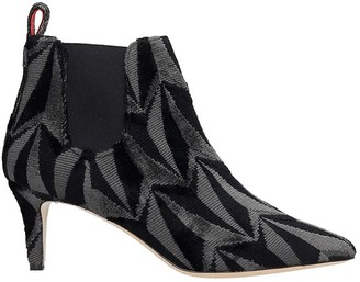 Bams High Heels Ankle Boots In Black Fabric