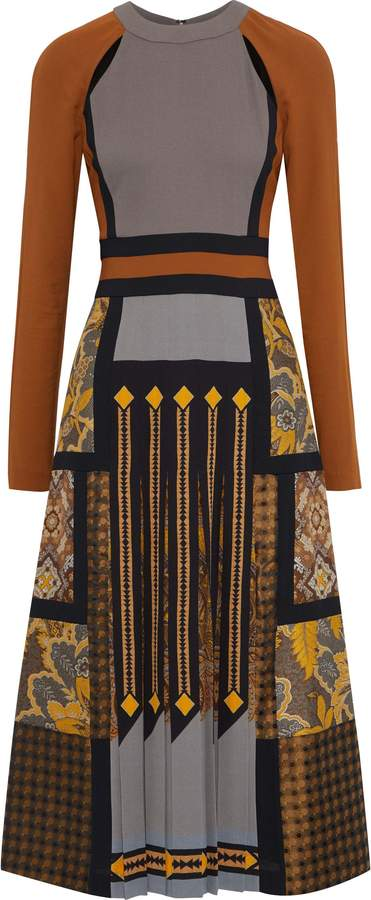 Etro Cutout Pleated Printed Crepe And Jacquard Midi Dress