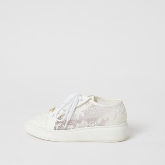 River Island Girls White lace chunky sole lace-up trainers