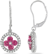 Julie Leah 1 CT TW Pink and White Diamond 14K White Gold Flower Earrings