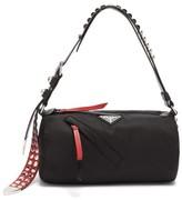Prada New Vela Cylindrical Nylon Shoulder Bag - Womens - Black Red