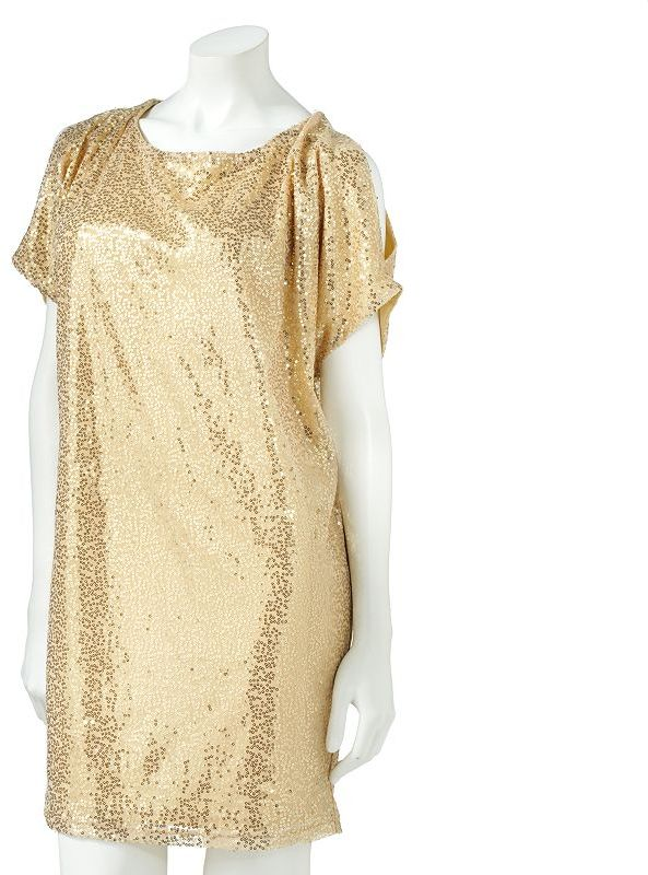 My Michelle sequin cold-shoulder dress