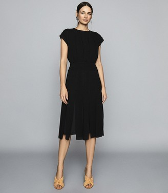 Reiss Venus - Split Detail Midi Dress in Black