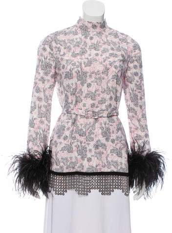 Prada 2018 Ostrich Feather-Trimmed Wooland Rabbit Blouse w/ Tags