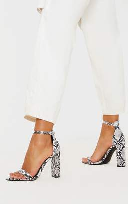 PrettyLittleThing Grey Snake Point Toe Block Heel Sandal