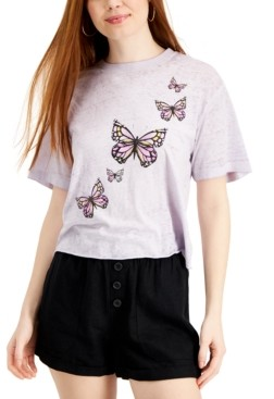 Rebellious One Juniors' Butterfly Graphic T-Shirt