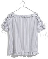 Madewell Women's Ruffle Lace-Up Sleeve Top