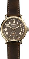 Shinola S0100110 Unisex Runwell gold-tone leather-strap watch