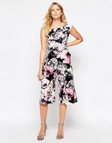 Liquorish Culotte Jumpsuit with Lace Insert in Floral Print