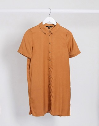 Vero Moda short sleeve shirt dress in tan