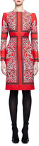 Alexander McQueen Long-Sleeve Geometric Paisley Dress, Red
