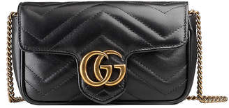 Gucci GG Marmont Super Mini Chain Shoulder Bag in Black | FWRD