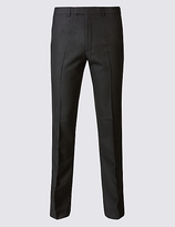 M&S Collection Charcoal Textured Slim Fit Trousers