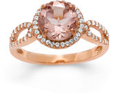FINE JEWELRY Simulated Morganite & Lab Created White Sapphire 14K Gold Over Silver Ring