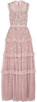 Needle & Thread Twilight Ruffled Embellished Tulle Gown - Lilac