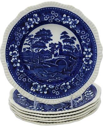 One Kings Lane Vintage Antique Spodes Tower Pasta Bowls - Set of 6 - Rose Victoria - blue/white