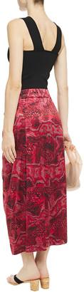 Ganni Tie-front Printed Stretch-silk Satin Midi Skirt