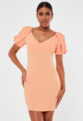 Missguided Coral Puff Sleeve V Neck Mini Dress