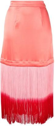 Taller Marmo Fringed Trim Straight Skirt