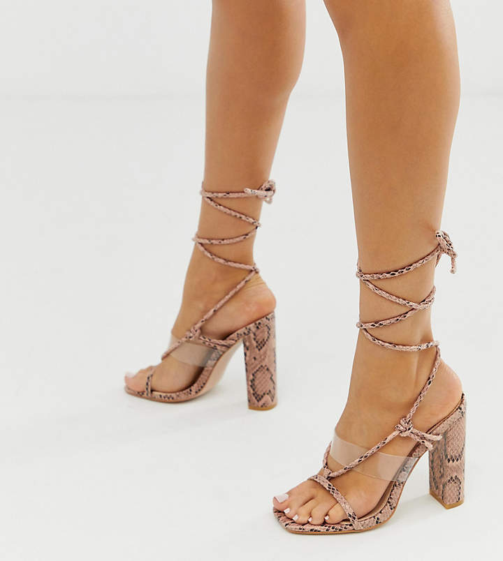 34982fcb235 Exclusive Fussy ankle tie heeled sandals in pink snake