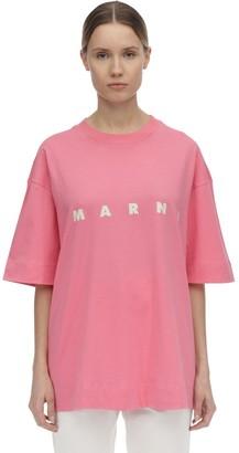 Marni Logo Print Cotton Jersey T-shirt