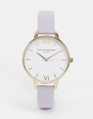 Olivia Burton OB16DE09 white dial leather watch in lilac