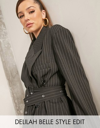 ASOS DESIGN wrap blazer in black pinstripe