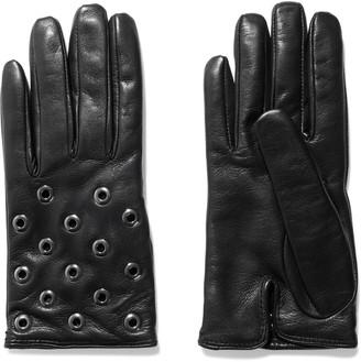 Red(V) Eyelet-embellished Leather Gloves