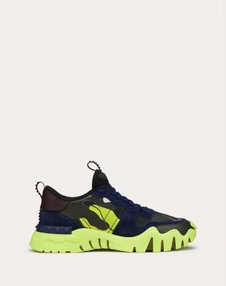 Valentino Sneaker Rockrunner Plus Camouflage Fluo Man Neon Green Camouflage 100% Pelle Di Vitello - Bos Taurus 42
