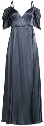 Fame & Partners The Mavis Cold-Shoulder Long Wrap Dress