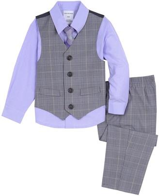 Van Heusen Baby Boy 4 Pc Plaid Vest, Shirt, Pants & Tie Set